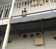 白石区アパート鉄骨階段、鍛冶工事の様子